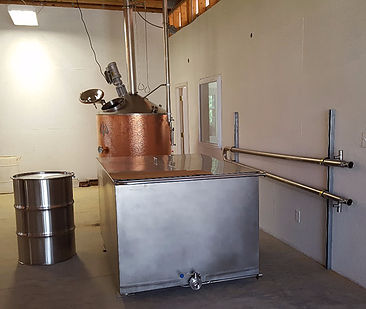 A 300 gallon still, 400 gallon mash tun and a wort chiller.